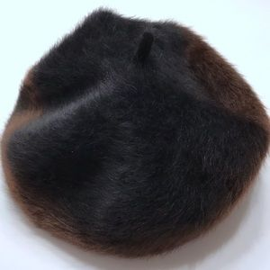 Canadian Rabbit Hair Beret Black and Brown